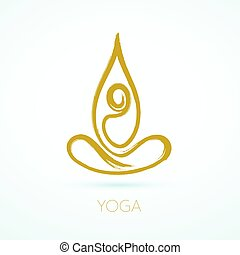 Brush stroke line figure in a lotus pose for yoga and wellness graphics