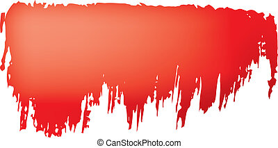 Brush stroke of red paint on white background.
