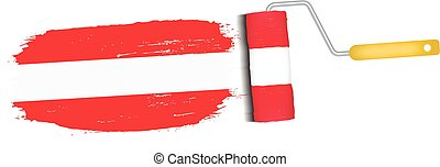 Brush Stroke With Austria National Flag Isolated On A White ...