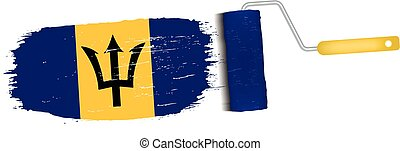 Brush Stroke With Barbados National Flag Isolated On A White Background. Vector Illustration.