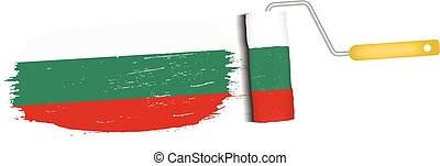 Brush Stroke With Bulgaria National Flag Isolated On A White Background. Vector Illustration.