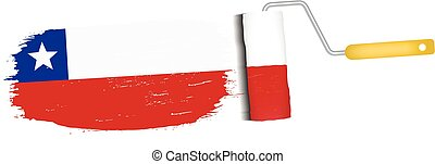 Brush Stroke With Chile National Flag Isolated On A White Background. Vector Illustration.