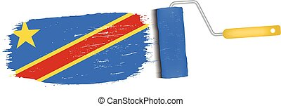 Brush Stroke With Democratic Republic Of The Congo National Flag Isolated On A White Background. Vector Illustration.