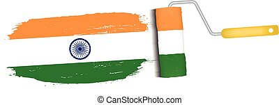 Brush Stroke With India National Flag Isolated On A White Background. Vector Illustration.