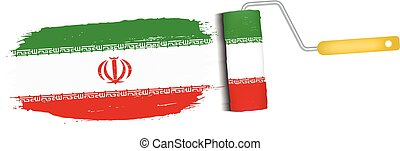 Brush Stroke With Iran National Flag Isolated On A White Background. Vector Illustration.