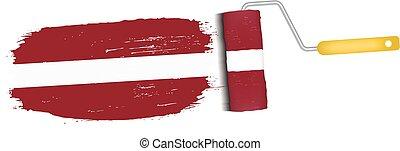 Brush Stroke With Latvia National Flag Isolated On A White...