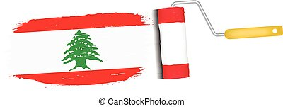 Brush Stroke With Lebanon National Flag Isolated On A White...