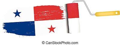 Brush Stroke With Panama National Flag Isolated On A White Background. Vector Illustration.