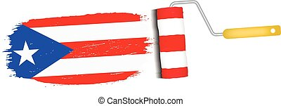 Brush Stroke With Puerto Rico National Flag Isolated On A White Background. Vector Illustration.