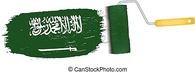 Brush Stroke With Saudi Arabia National Flag Isolated On A...