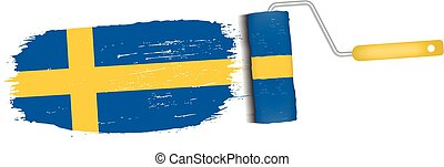 Brush Stroke With Sweden National Flag Isolated On A White...