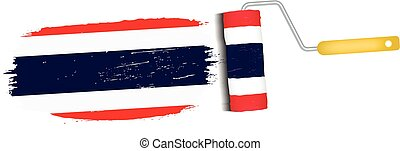 Brush Stroke With Thailand National Flag Isolated On A White Background. Vector Illustration.