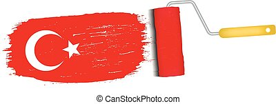 Brush Stroke With Turkey National Flag Isolated On A White Background. Vector Illustration.