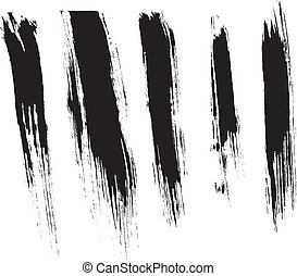 Brush strokes - Black isolated ink brush strokes with messy ...