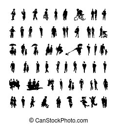 Brush strokes in the form of black silhouettes of people