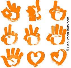 Brush strokes - numerals- hands