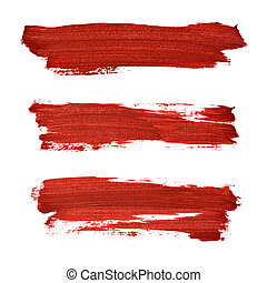 Brush strokes of red acrylic paint