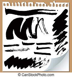 Brush strokes on paper - Brush strokes set on paper