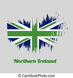 Brush style color flag of Northern Ireland, green union flag