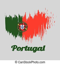 Brush style color flag of Portugal, 2:3 vertically striped bicolor of green and red, with coat of arms of Portugal centred over the color boundary