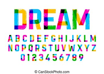 Brush style colorful font