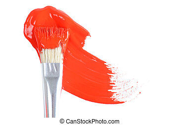 Brush with a red paint