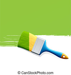 Detailed vector illustration of a brush with green paint