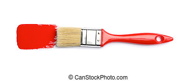 Brush with red paint isolated on white background