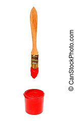 Brush with red paint isolated