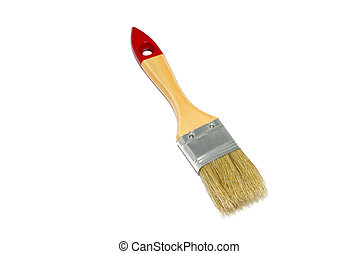 Brush with wooden handle isolated on white background.