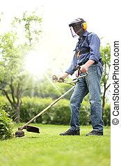 brushcutter, 彼の, 庭, 仕事, 人