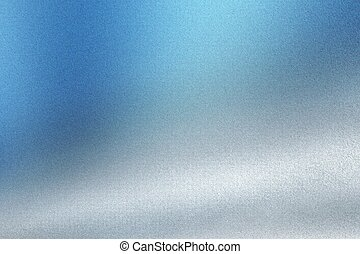 Brushed blue white metal wall, abstract texture background