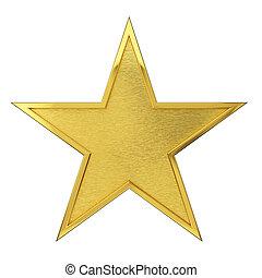 Brushed Golden Star Award. Isolated on white background.