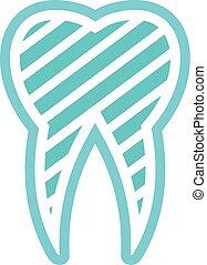 Brushed logo tooth icon, flat style.
