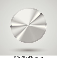Brushed metal button. Blank circle. Vector illustration.