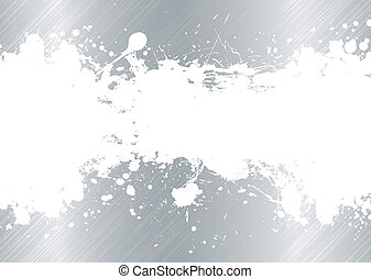 brushed metal ink splat - Silver brushed metal background...