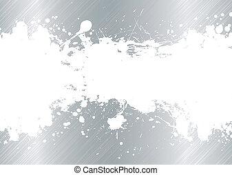 brushed metal ink splat - Silver brushed metal background...