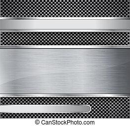 Brushed metal on textured metallic background