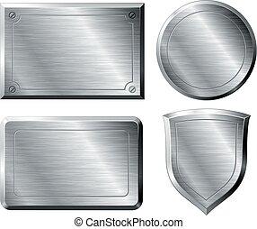 Brushed metal shapes - Four brushed metal shapes. Eps8. CMYK...