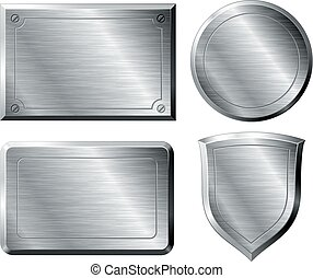 Brushed metal shapes - Four brushed metal shapes. Eps8....