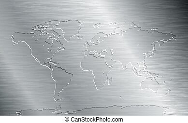 Brushed metal with world map