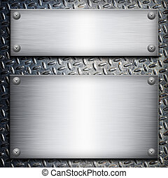 Brushed steel plate over black metall background for your ...