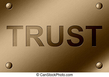 Trust - Brushed Steel Plate with screws in corner and the...