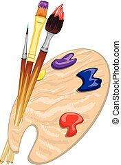 Brushes and Palette - Artist brushes and wood palette with...