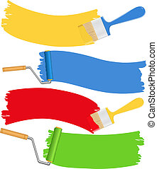 Brushes and rollers with paint, vector illustration