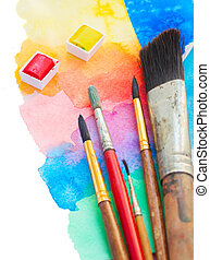 brushes and watercolor paints border