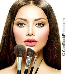brushes., brunette, beauty, makeup, vrouw, make-up, meisje