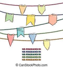 brushes., ensemble, elemens, griffonnage, corde, drapeaux