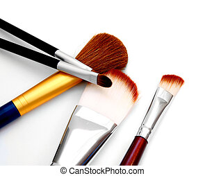Brushes for a make-up. On a white background.