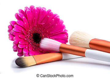 Brushes for make-up  with  big pink flower